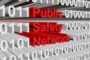 public safety network in the form of binary code, 3D illustration