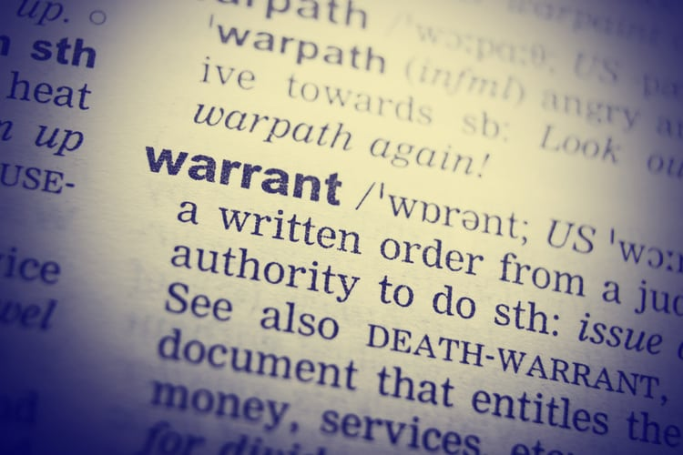 Dictionary definition of the word Warrant