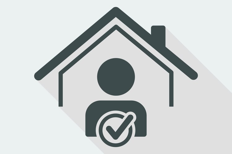 Silhouette logo of home with person and checkmark inside