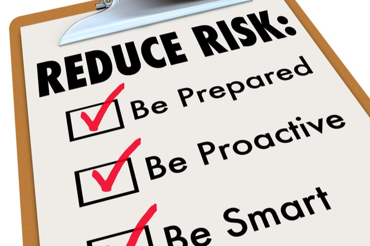 Reduce Risk words on clipboard with checkmarks for Be Prepared, Proactive and Smart