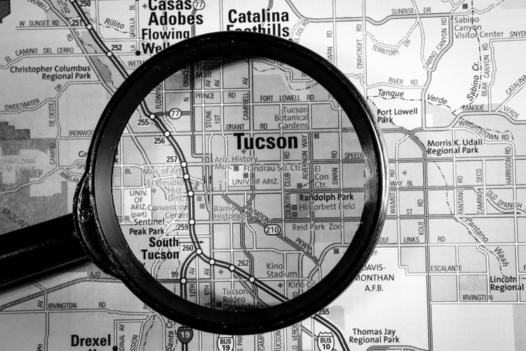 Tucson on map