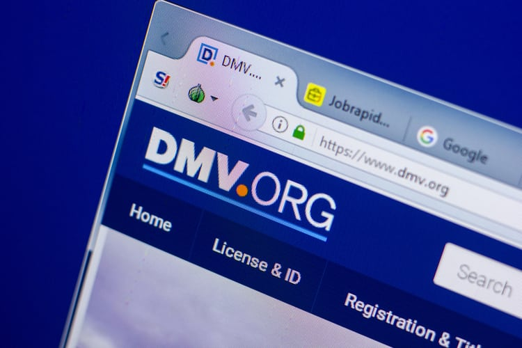 Homepage of DMV website on the display of PC