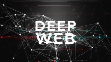 Black and White Data Mesh Glitch Illustration Background with Big Deep Web Text