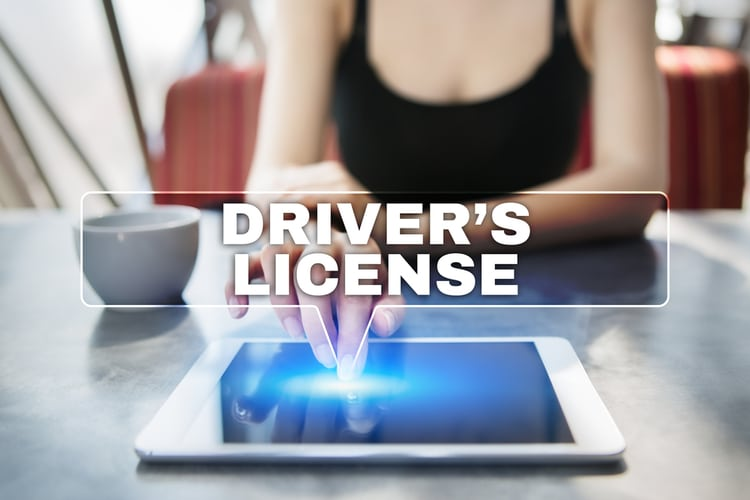 Woman using tablet pc and selecting driver license