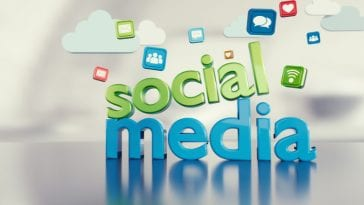 3D illustration of words social media with popular social media logos