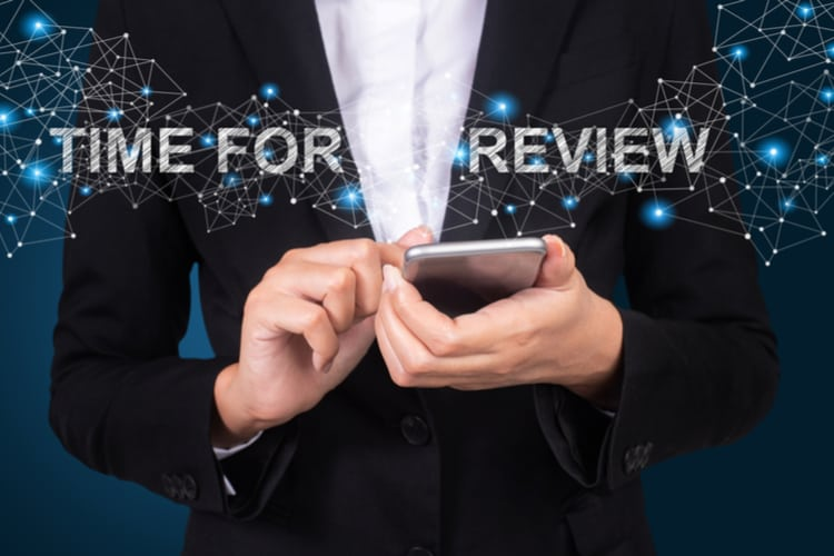 Time for review concept, Businesswoman using mobile smart phone, Social, media.
