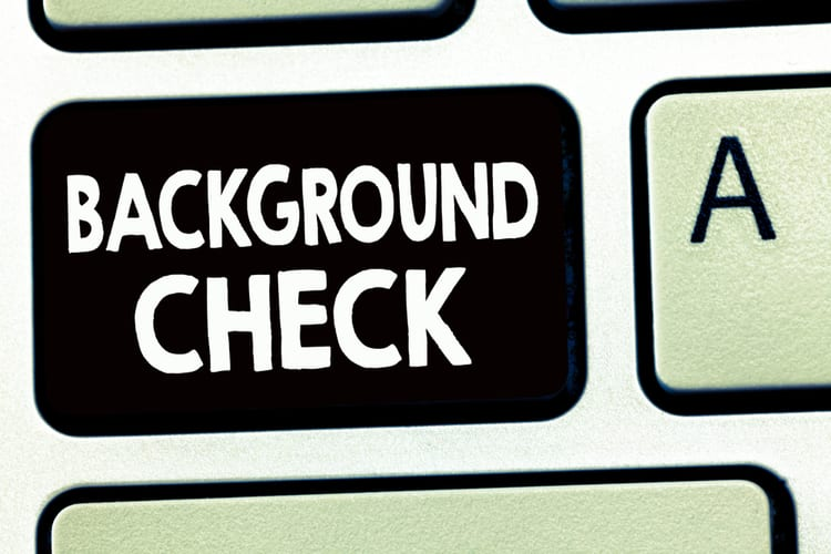 Writing note showing Background Check