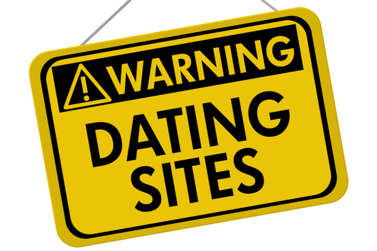 A yellow and black sign with the words Dating Sites isolated on a white background
