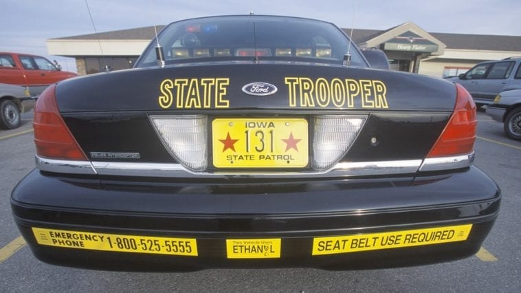 iowa state trooper arrest patrol car